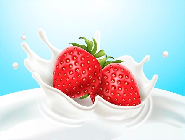 Morangos caem no leite na ilustração 3d em fundo azul