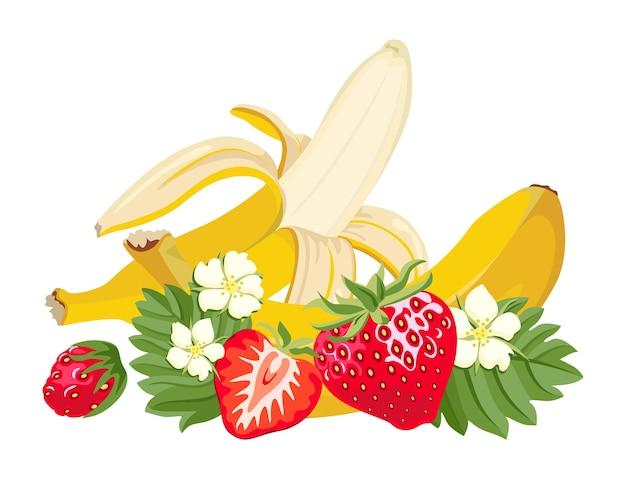 Morangos e banana.