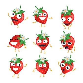Morangos - emoticons de desenhos animados isolados de vetor. emoji engraçado com um personagem legal. uma coleção de uma fruta zangada, surpresa, feliz, confusa, louca, rindo, triste e cansada em fundo branco