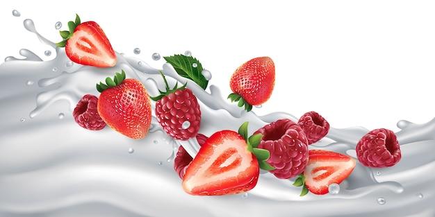 Morangos frescos e framboesas em uma onda de leite ou iogurte.