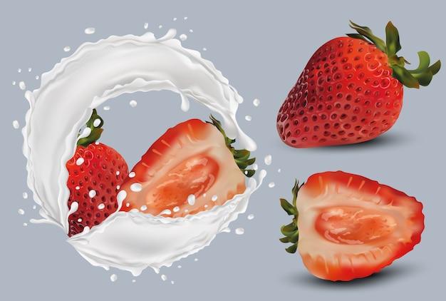 Morangos inteiros e fatia com morangos na ilustração de salpicos de leite.3d.