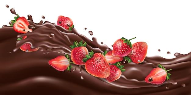 Morangos inteiros e fatiados em uma onda de chocolate.