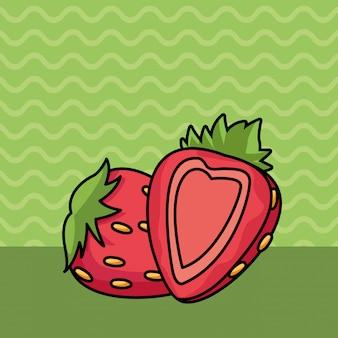 Morangos, metade, corte, frutas, caricatura