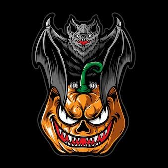 Morcego assustador com vetor de abóbora de halloween