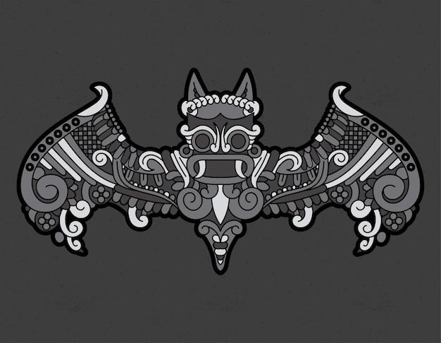 Morcego asteca pré-hispânico Vetor Premium