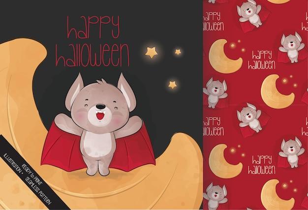 Morcego bonitinho na lua feliz dia das bruxas com padrão sem emenda Vetor grátis
