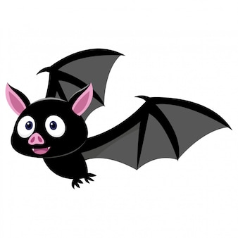 Morcego bonito à procura de presas isolado no fundo branco