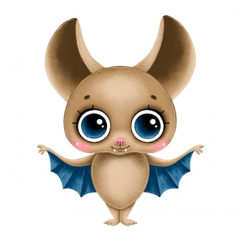 Morcego bonito dos desenhos animados marrom com olhos grandes