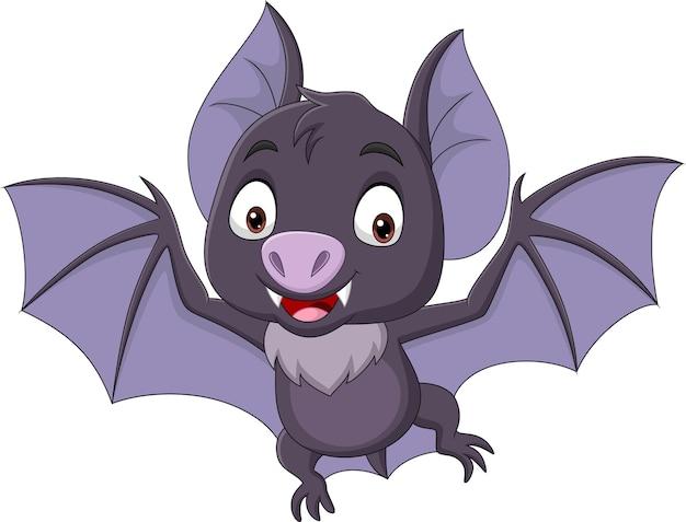 Morcego de desenho animado voando isolado no branco