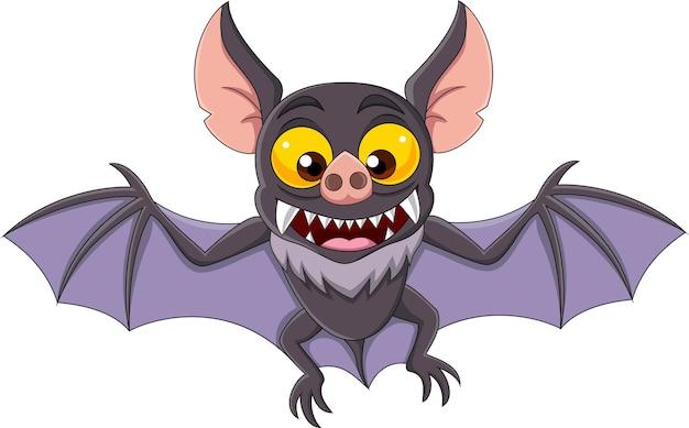 Morcego de desenho animado voando isolado no fundo branco