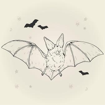 Morcego de halloween desenhado à mão