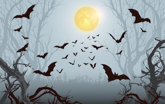 Morcego de halloween, plano de fundo de halloween. floresta assustadora com lua cheia e morcegos voando
