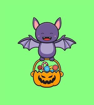 Morcego fofo do dia das bruxas segurando uma cesta de abóbora cheia de ilustração do ícone de desenho animado
