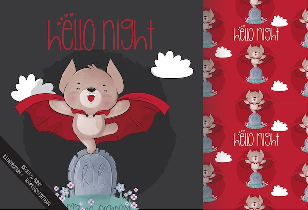 Morcego mágico fofo no cemitério feliz dia das bruxas com padrão sem emenda