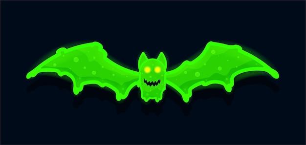 Morcego realista assustador com limo de radiação perfeito para banner de festas de halloween