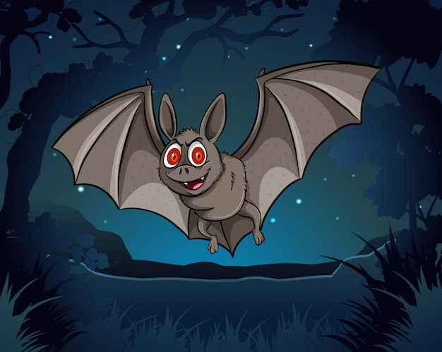 Morcego selvagem voando na selva à noite