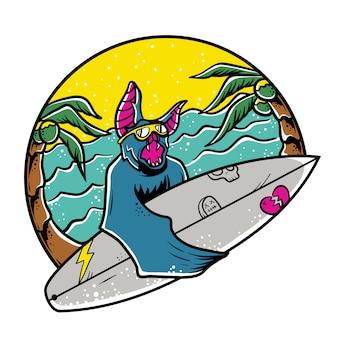 Morcego surfando na praia