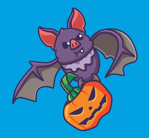 Morcego vampiro bonito traz um animal de desenho animado de abóbora conceito de evento de halloween ilustração isolada plano