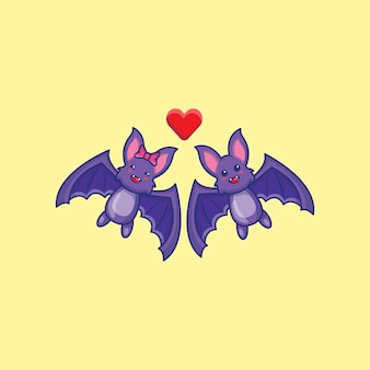 Morcegos bonitos na ilustração dos desenhos animados de amor. conceito de ícone hallowen.
