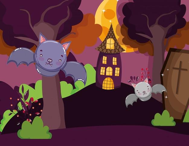 Morcegos caixão casa na colina halloween