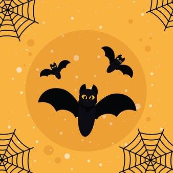Morcegos de halloween voando