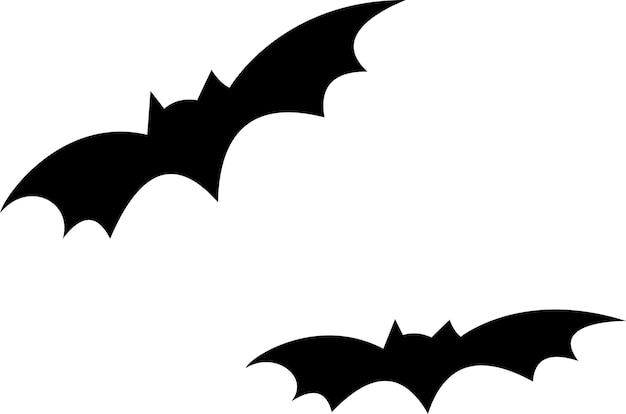 Morcegos pretos em fundo branco, símbolo do dia das bruxas, vetor