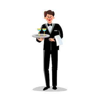 Mordomo segurando a bandeja com copos de coquetel