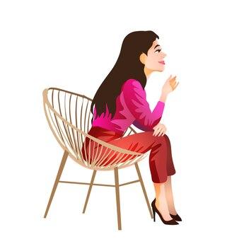 Morena de cabelo comprido senta-se com uma blusa vermelha e calça e sapatos e se senta e pensa. morena sentada e sorrindo. ilustração isolada em estilo cartoon.