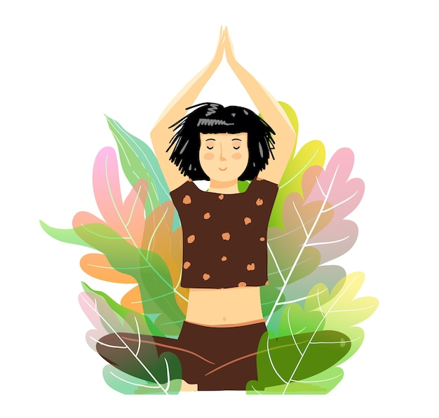 Morena jovem ou mulher pose de meditação na natureza.