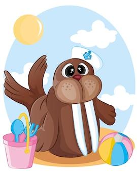 Morsa animal dos desenhos animados. marinheiro morsa. para educação pré-escolar, jardim de infância e crianças e crianças