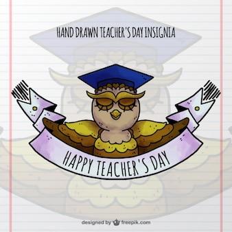 Mortarboard coruja emblema para o dia do professor