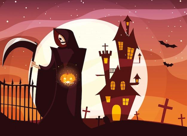Morte de halloween sob lua cheia