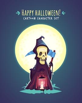 Morte engraçada de halloween com foice. ilustração de personagem