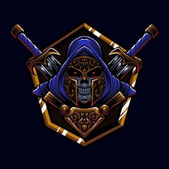 Morte espartano com duas espadas ilustração da arte do logotipo da mascote