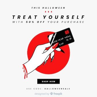 Morticia mão com cartão de crédito venda de halloween
