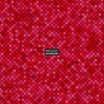 Mosaico abstrato de fundo do padrão de pixel da grade e quadrados de cor vermelha