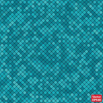 Mosaico abstrato de fundo do padrão de pixel de grade e quadrados de cor azul.