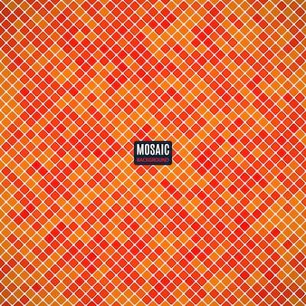 Mosaico abstrato do fundo do teste padrão do pixel da grade e da cor da laranja dos quadrados. ilustração conservada em estoque