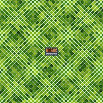Mosaico abstrato do fundo do teste padrão do pixel da grade e da cor verde dos quadrados. ilustração conservada em estoque