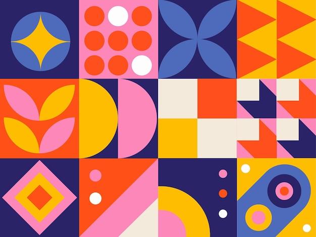 Mosaico de elementos geométricos simples e planos