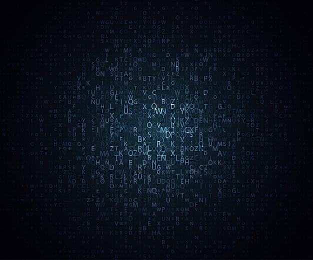 Mosaico de incandescência das letras no fundo escuro. fundo abstrato do vetor. a matriz de letras