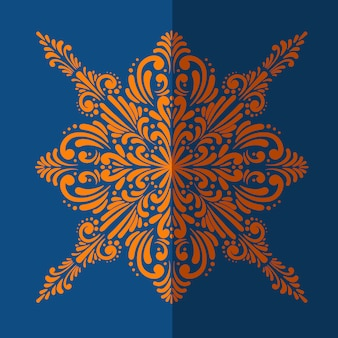 Mosaico laranja em fundo azul