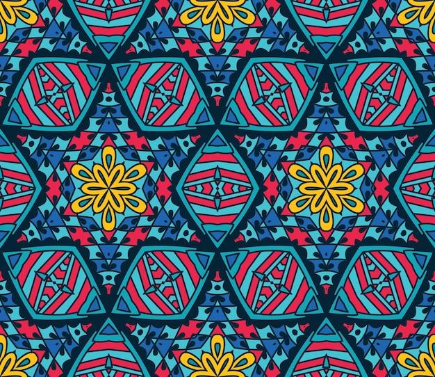 Mosaico tribal abstrato com azulejos étnicos sem costura padrão ornamental