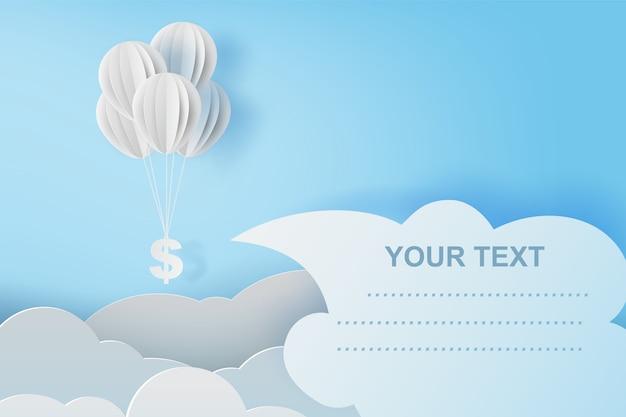 Mosca de balão com cifrão no céu azul.