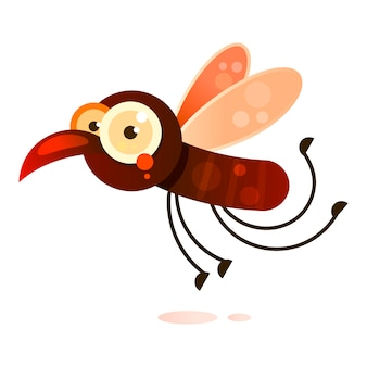 Mosquito de sangue voando para a ilustração em vetor de vítima