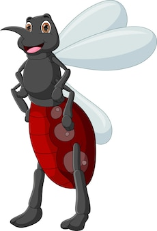 Mosquito dos desenhos animados posando de pé, isolado no fundo branco