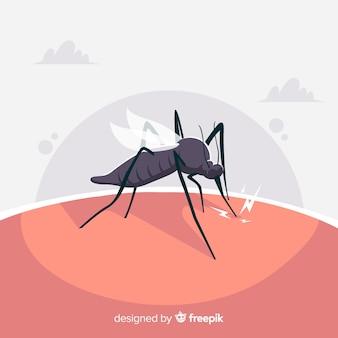 Mosquito mordendo uma pessoa com design plano