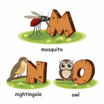 Mosquito nightingale pássaro coruja alfabeto madeira animais