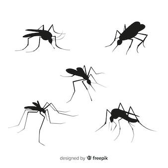 Mosquito silhueta coleção de cinco