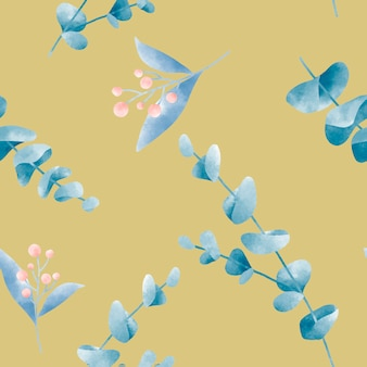 Mostarda amarela aquarela folha padrão vector